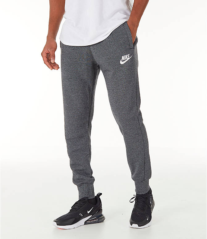 Front view of Men's Nike Sportswear Heritage Club Cuffed Jogger Pants in Heather Grey