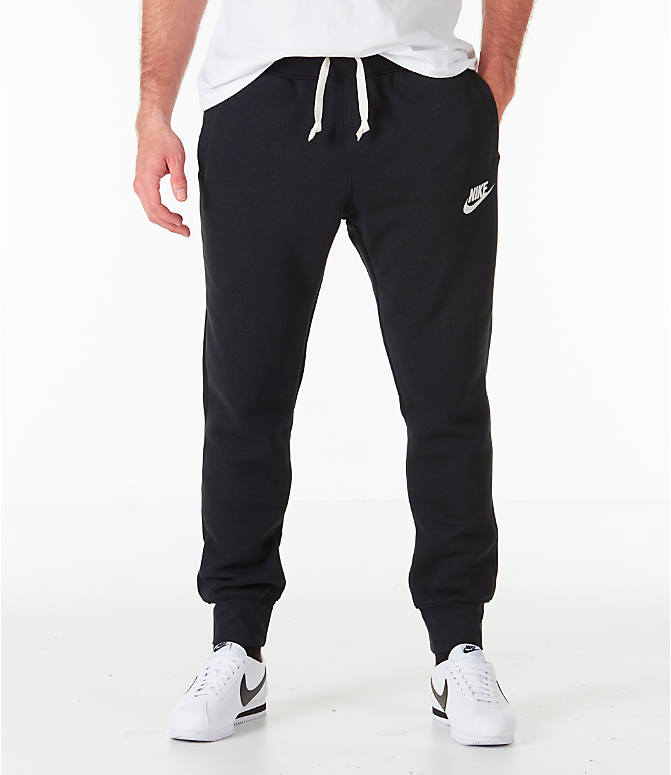 Front view of Men's Nike Sportswear Heritage Club Cuffed Jogger Pants in Black