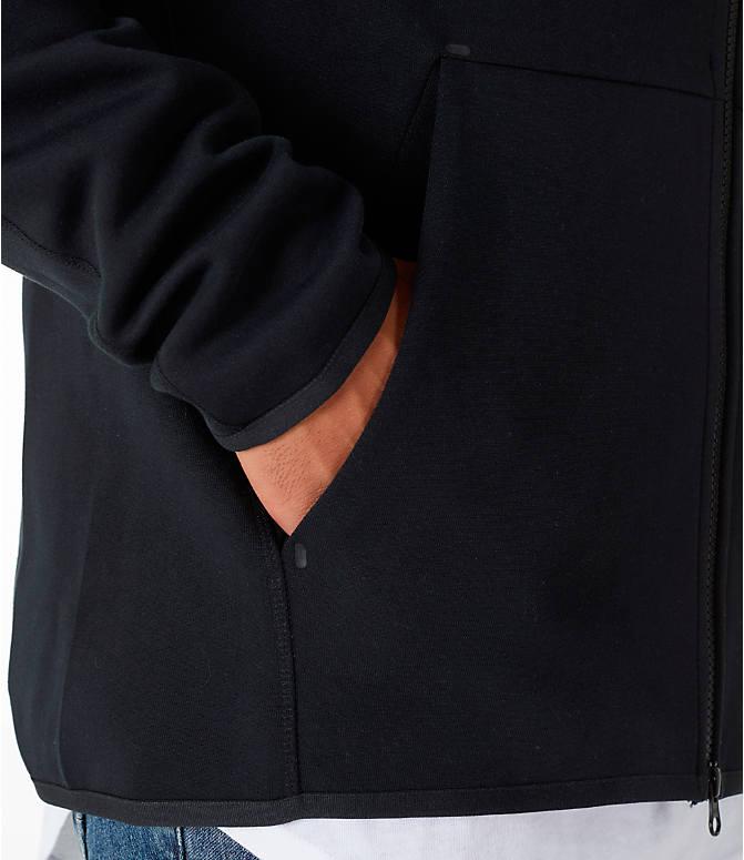 242100815 Detail 1 view of Men's Nike Sportswear Tech Fleece Full-Zip Hoodie in Black