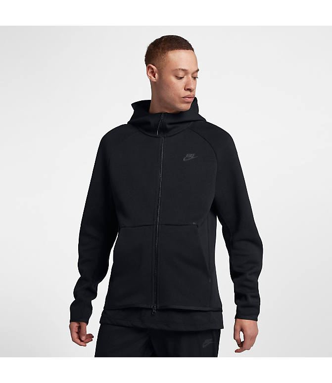 38b034c43 Front view of Men's Nike Sportswear Tech Fleece Full-Zip Hoodie in Black