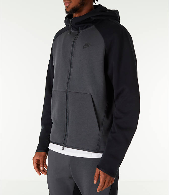 Front Three Quarter view of Men's Nike Sportswear Tech Fleece Full-Zip Hoodie in Anthracite/Black