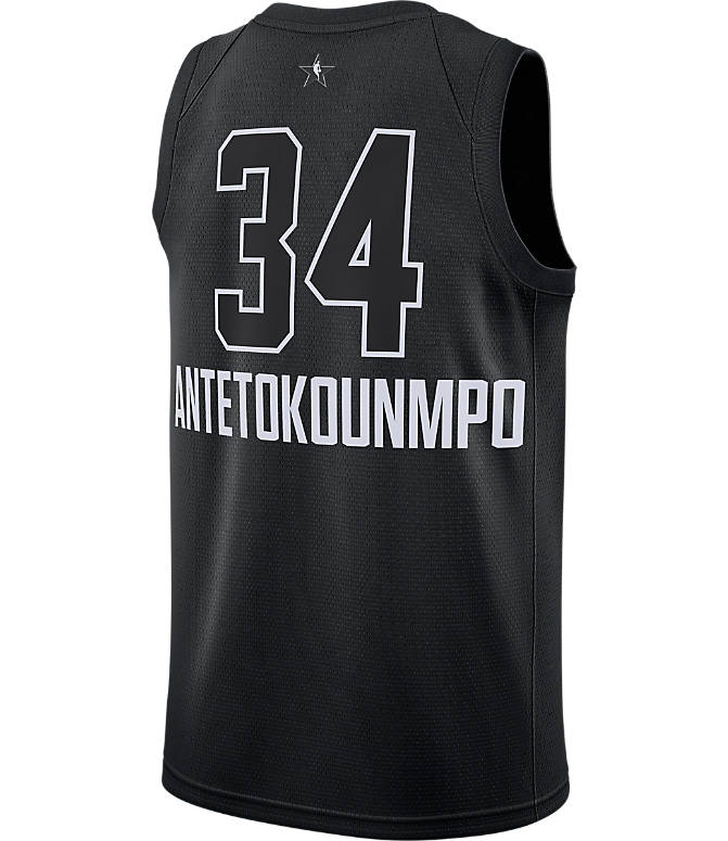 Front view of Men's Air Jordan NBA Giannis Antetokounmpo All-Star Edition Connected Jersey in Black