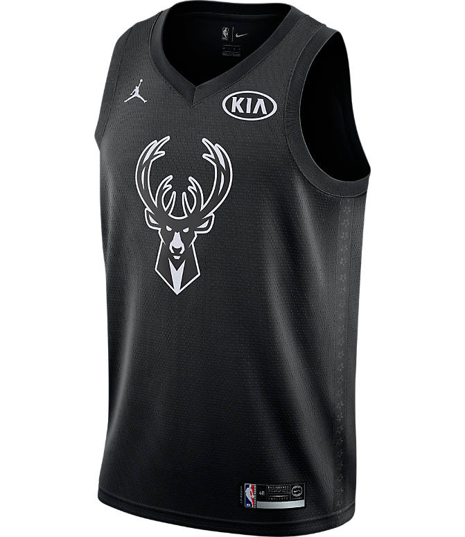 Back view of Men's Air Jordan NBA Giannis Antetokounmpo All-Star Edition Connected Jersey in Black