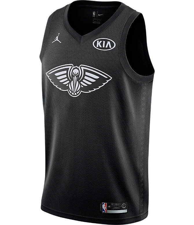 Back view of Men's Air Jordan NBA Anthony Davis All-Star Edition Connected Jersey in Black