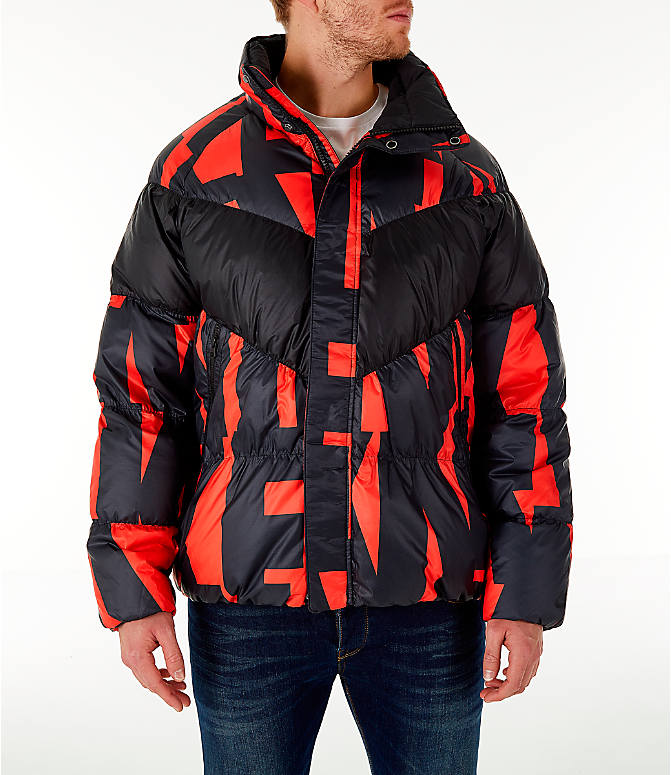 Front view of Men's Nike Sportswear Down Filled Jacket in Red/Black