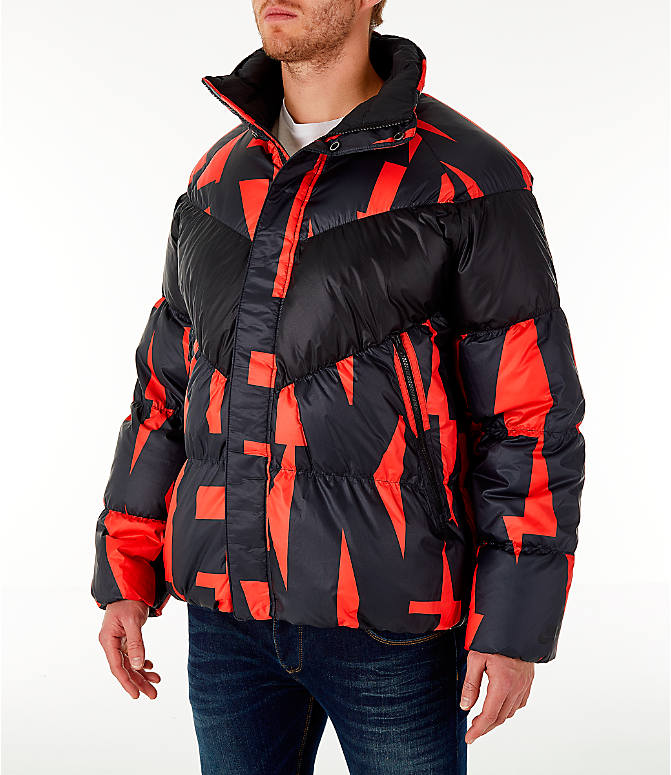 Front Three Quarter view of Men's Nike Sportswear Down Filled Jacket in Red/Black