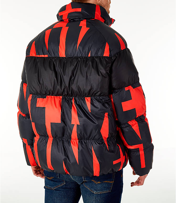 Back Right view of Men's Nike Sportswear Down Filled Jacket in Red/Black