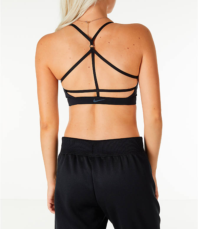 Back Right view of Women's Nike Indy JDI Light Support Sports Bra in Black/White