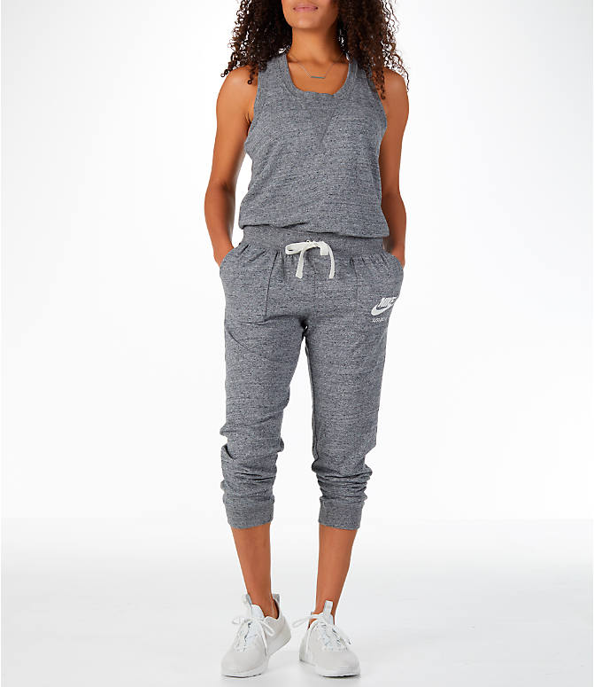 Front view of Women's Nike Sportswear Gym Vintage Romper in Carbon Heather