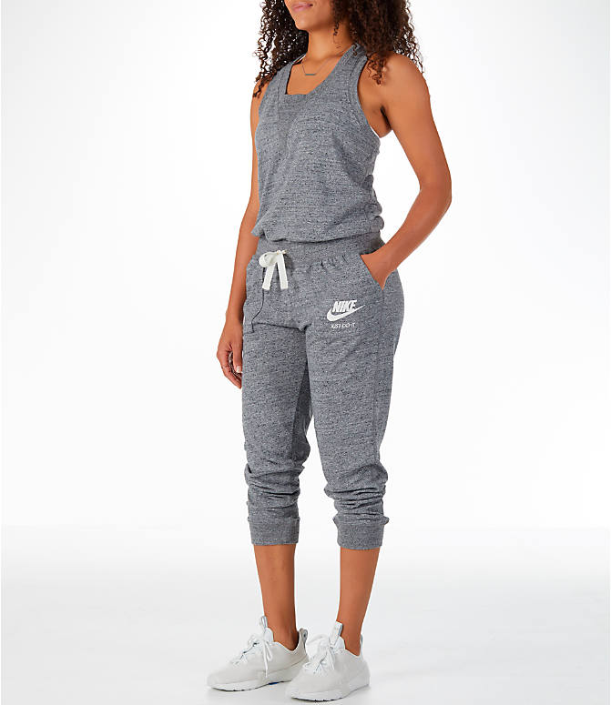 Front Three Quarter view of Women's Nike Sportswear Gym Vintage Romper in Carbon Heather