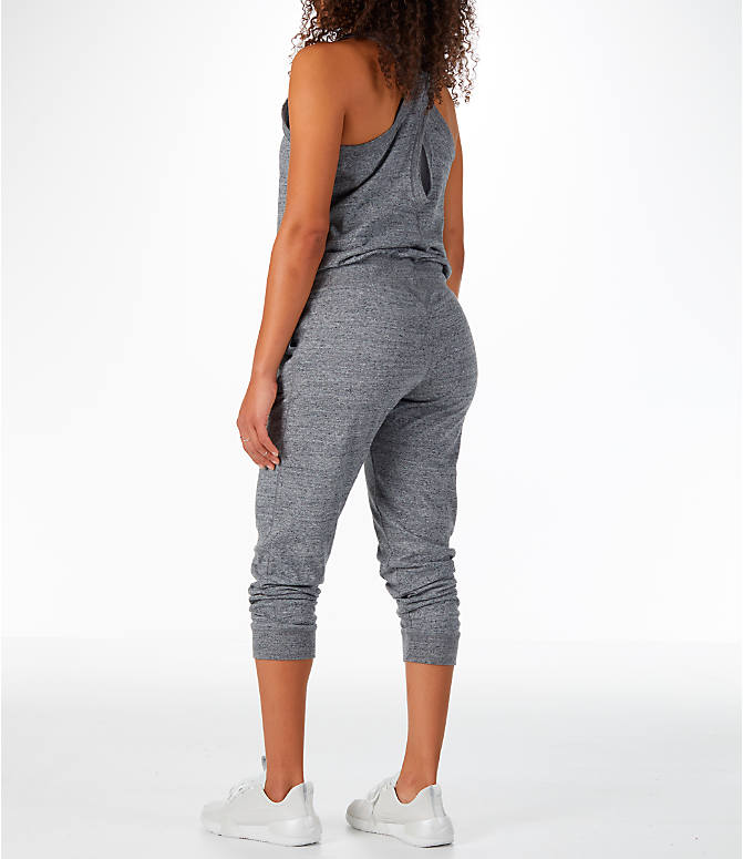 Back Left view of Women's Nike Sportswear Gym Vintage Romper in Carbon Heather