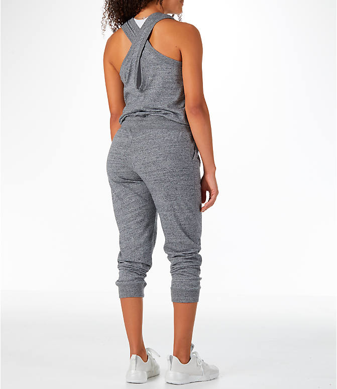 Back Right view of Women's Nike Sportswear Gym Vintage Romper in Carbon Heather