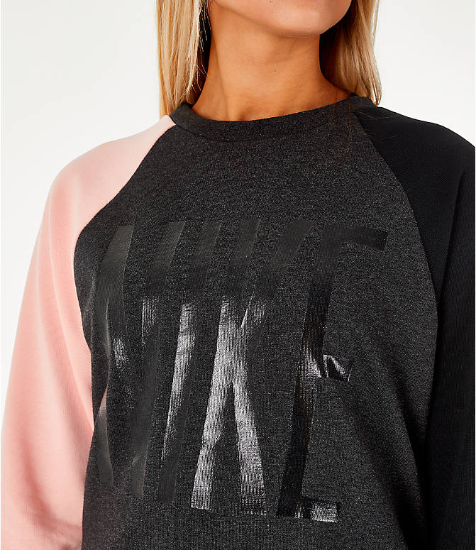 Detail 1 view of Women's Nike Dry Colorblock Crew Sweatshirt in Grey/Black/Storm Pink