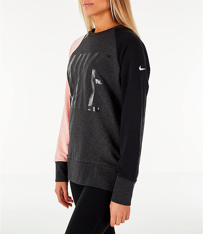 Front Three Quarter view of Women's Nike Dry Colorblock Crew Sweatshirt in Grey/Black/Storm Pink