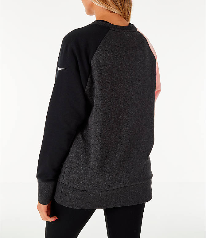 Back Left view of Women's Nike Dry Colorblock Crew Sweatshirt in Grey/Black/Storm Pink