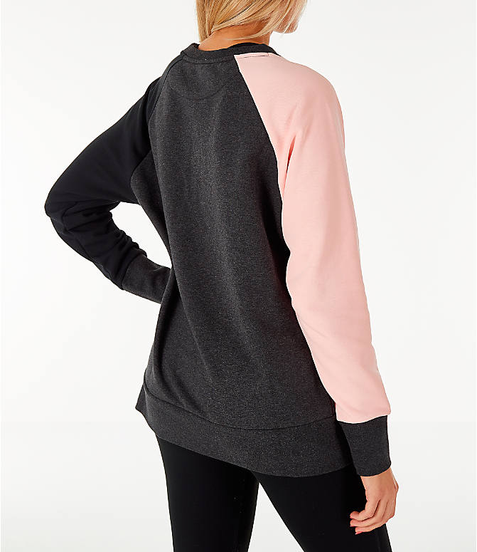 Back Right view of Women's Nike Dry Colorblock Crew Sweatshirt in Grey/Black/Storm Pink
