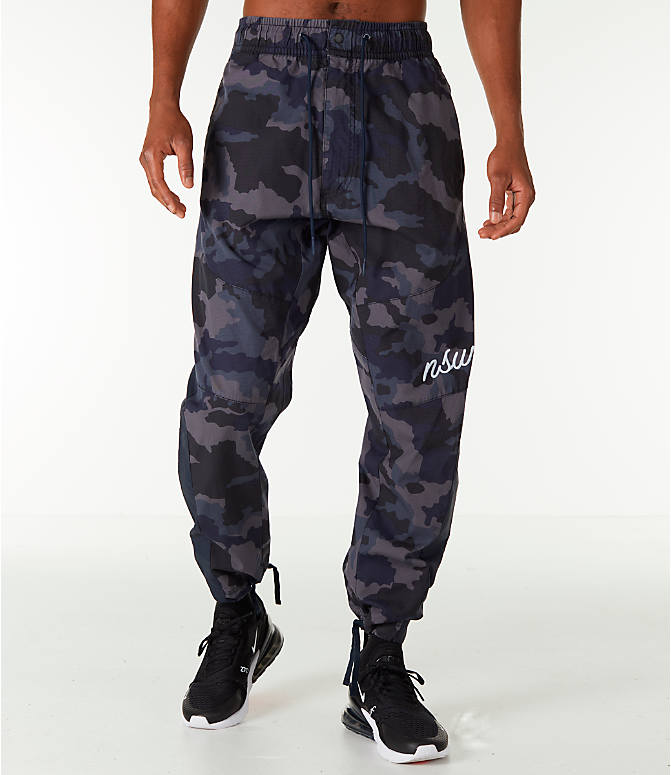 Front Three Quarter view of Men's Nike Sportswear Camo Jogger Pants in Dark Obsidian
