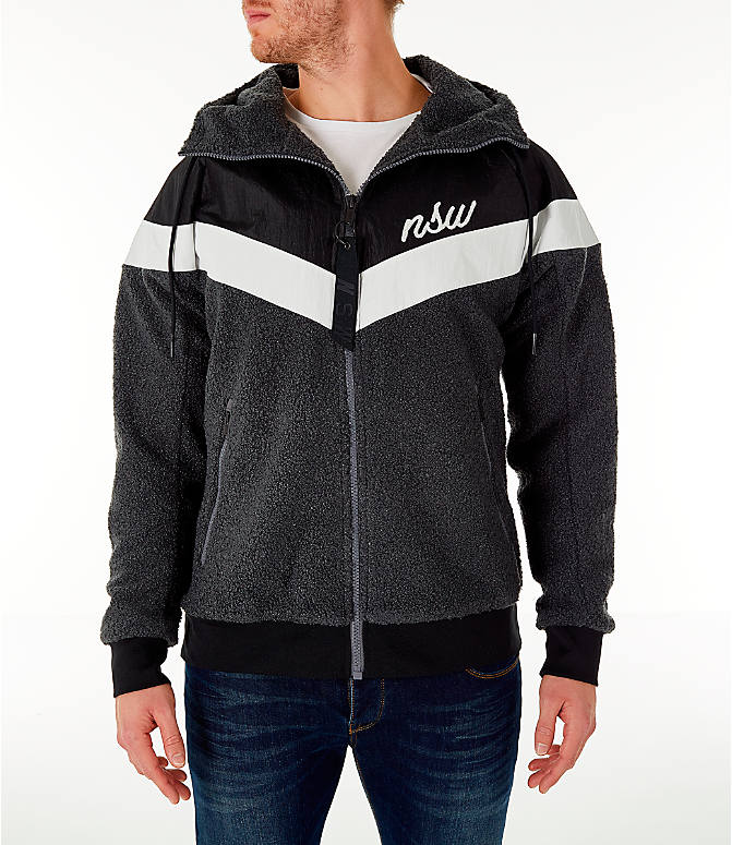 Front view of Men s Nike Sportswear Sherpa Windrunner Full-Zip Jacket in  Black 78b612a98