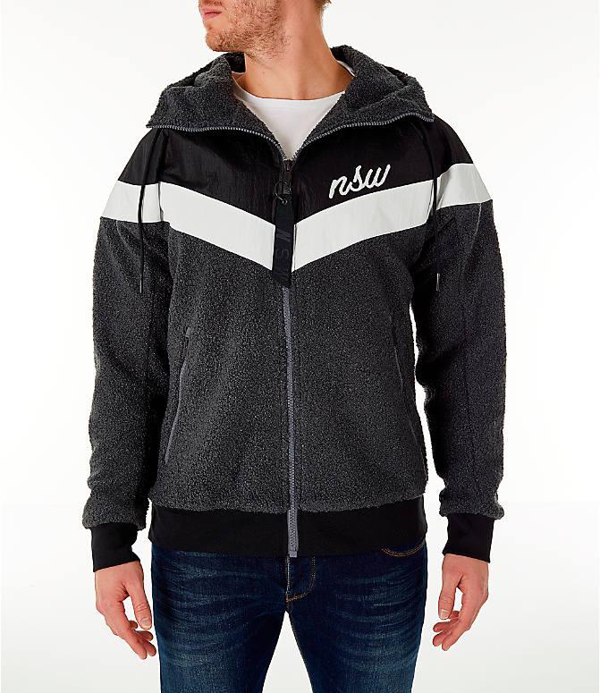 Front view of Men s Nike Sportswear Sherpa Windrunner Full-Zip Jacket in  Black . bcb9c5db8