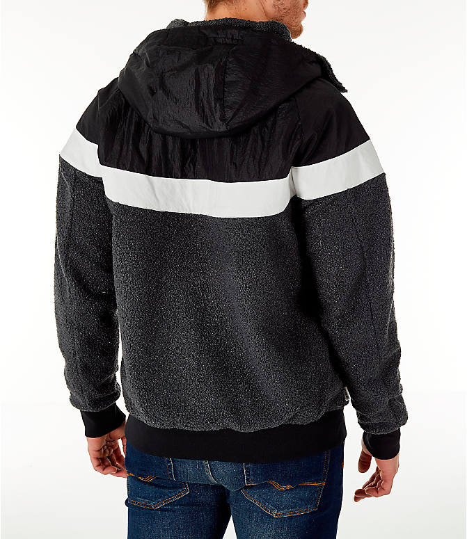 Back Right view of Men s Nike Sportswear Sherpa Windrunner Full-Zip Jacket  in Black d6718553d