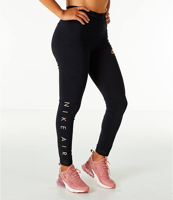 Front view of Women's Nike Sportswear Air Leggings in Black/Rose Gold
