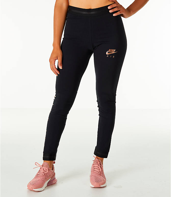 Front Three Quarter view of Women's Nike Sportswear Air Leggings in Black/Rose Gold