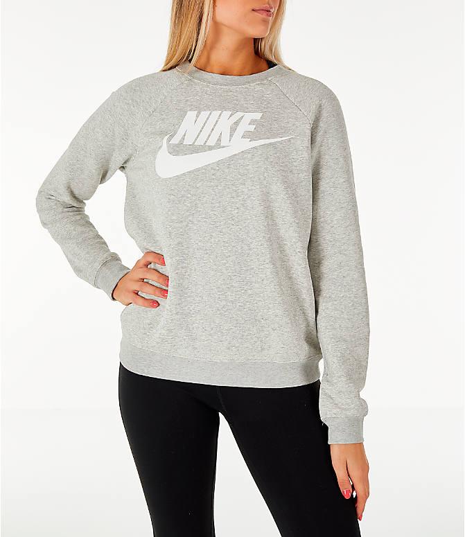 Front view of Women s Nike Sportswear Rally Crew Sweatshirt in Grey  Heather White a564aab8d