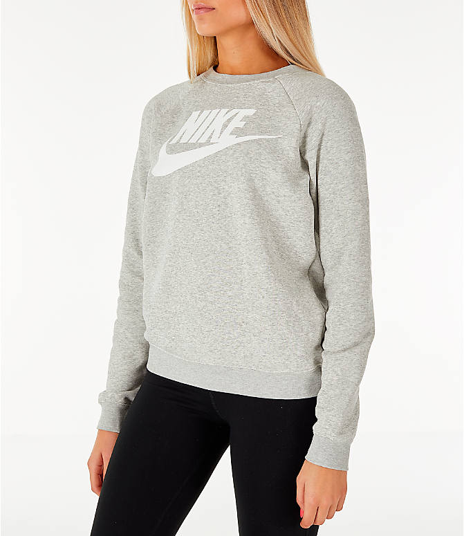 Front Three Quarter view of Women's Nike Sportswear Rally Crew Sweatshirt in Grey Heather/White