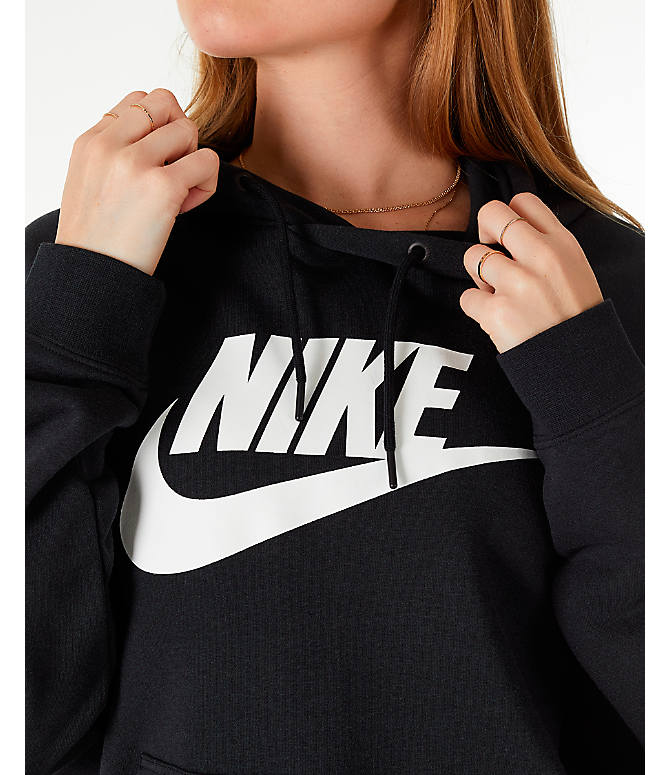Detail 1 view of Women's Nike Sportswear Rally Hoodie in Black/Black/White