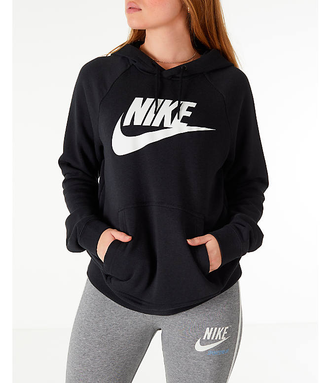Front view of Women's Nike Sportswear Rally Hoodie in Black/Black/White