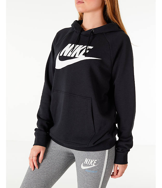 Front Three Quarter view of Women's Nike Sportswear Rally Hoodie in Black/Black/White