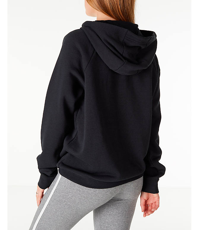 Back Left view of Women's Nike Sportswear Rally Hoodie in Black/Black/White
