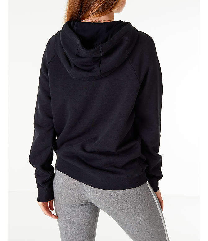 Back Right view of Women's Nike Sportswear Rally Hoodie in Black/Black/White