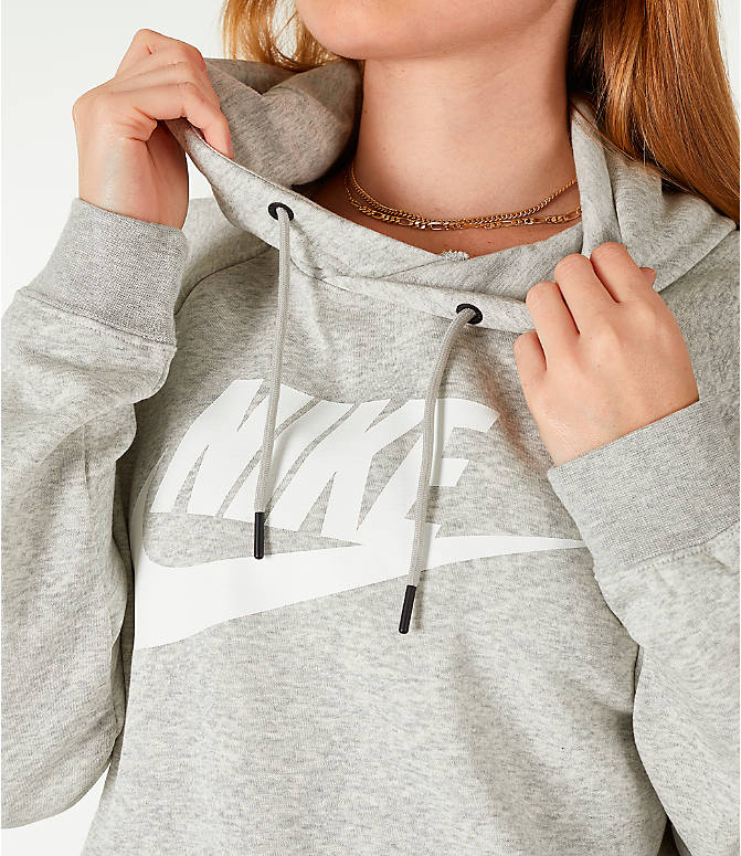 Detail 1 view of Women's Nike Sportswear Rally Hoodie in Grey/White