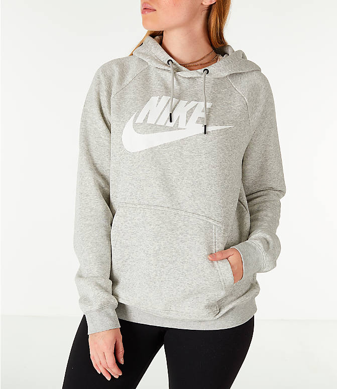 Front view of Women's Nike Sportswear Rally Hoodie in Grey/White
