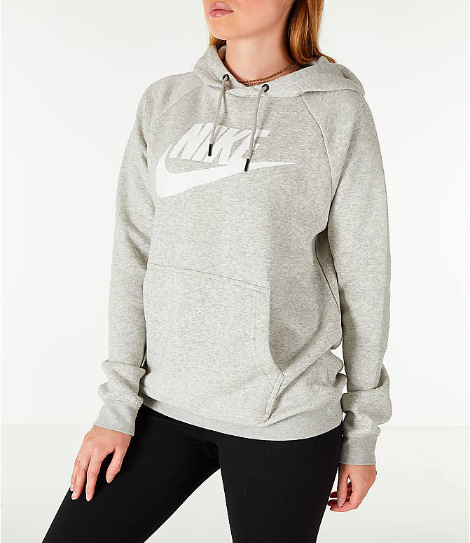 Front Three Quarter view of Women's Nike Sportswear Rally Hoodie in Grey/White