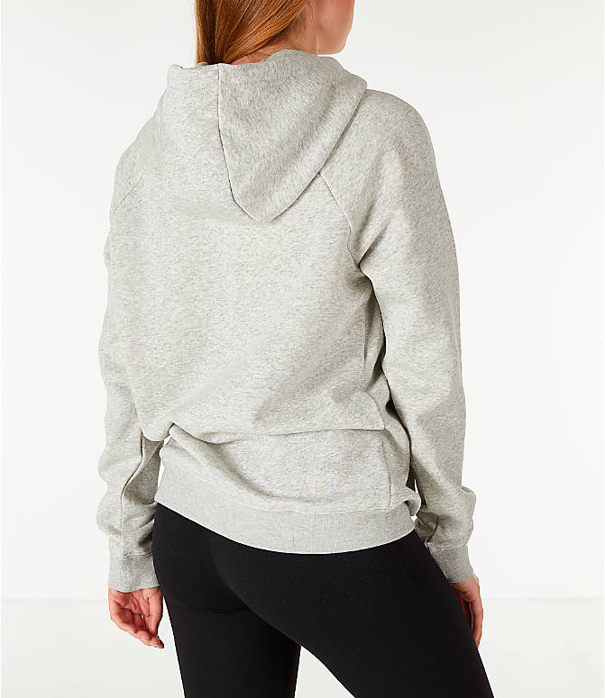 Back Right view of Women's Nike Sportswear Rally Hoodie in Grey/White