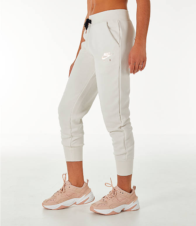 Front Three Quarter view of Women's Nike Sportswear Air Jogger Sweatpants in Phantom/Black