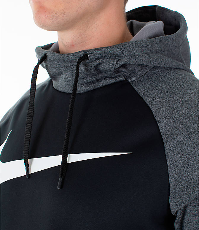 Detail 2 view of Men's Nike Therma Swoosh Training Hoodie in Black/Charcoal Heather/White