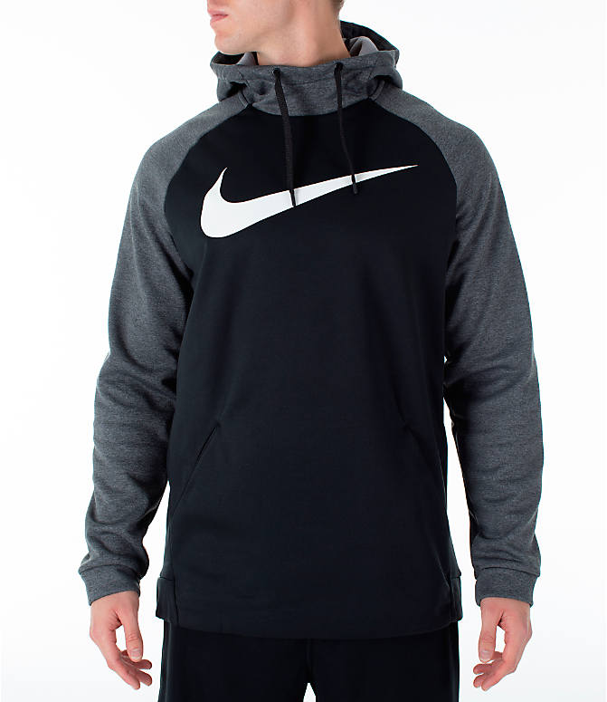 Front view of Men's Nike Therma Swoosh Training Hoodie in Black/Charcoal Heather/White