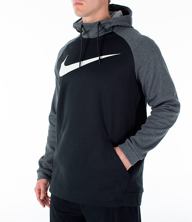 Front Three Quarter view of Men's Nike Therma Swoosh Training Hoodie in Black/Charcoal Heather/White