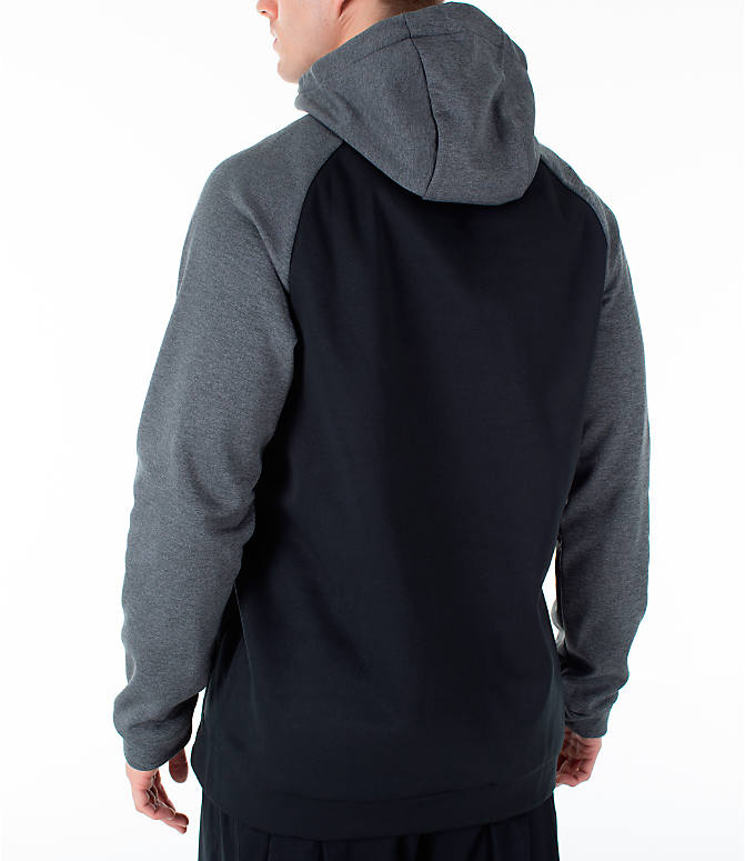 Back Left view of Men's Nike Therma Swoosh Training Hoodie in Black/Charcoal Heather/White