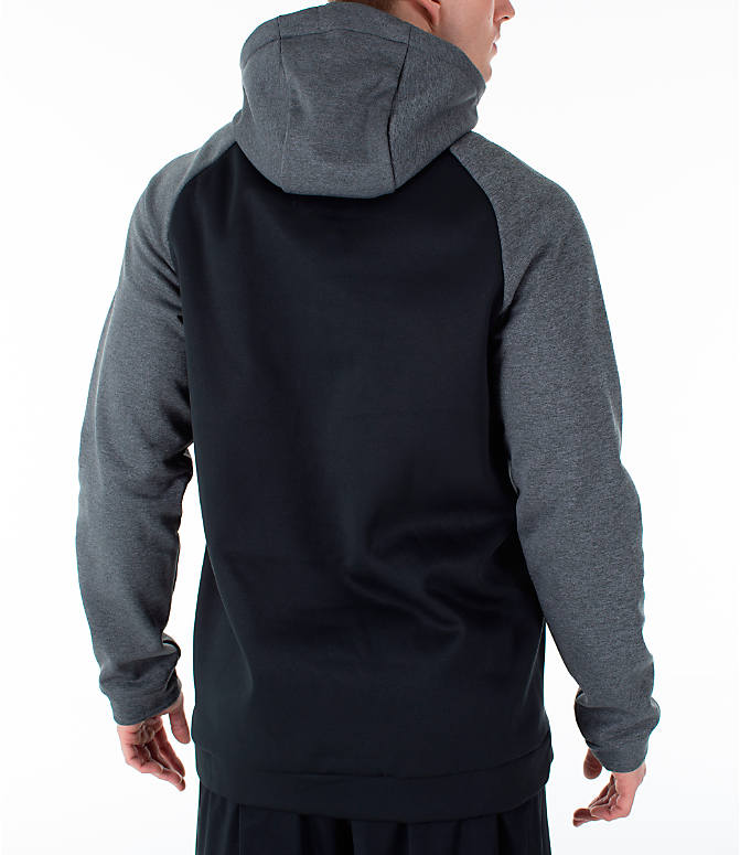 Back Right view of Men's Nike Therma Swoosh Training Hoodie in Black/Charcoal Heather/White