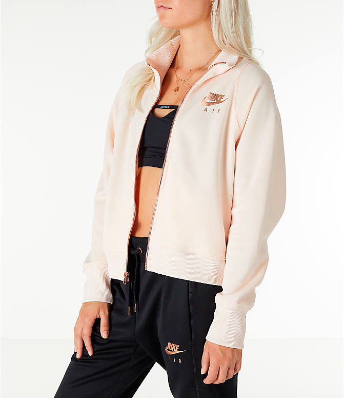 Front Three Quarter view of Women's Nike Sportswear N98 Track Jacket in Guava Ice/Rose Gold