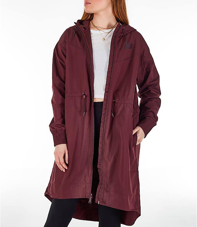 e82d063229 Front view of Women s Nike Sportswear Windrunner Long Hooded Wind Jacket in  Burgundy Crush