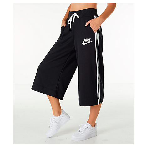 Activewear Cropped Drawstring Track Pants W/ Racer Stripes in Black