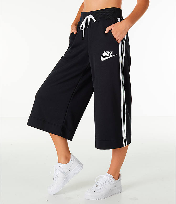 Front view of Women's Nike Sportswear Wide Leg Pants in Black/White