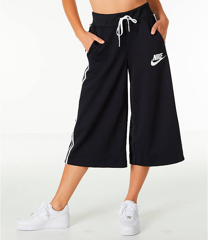 Front Three Quarter view of Women's Nike Sportswear Wide Leg Pants in Black/White