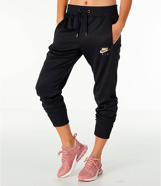 Front view of Women's Nike Sportswear Jogger Pants in Black/Rose Gold