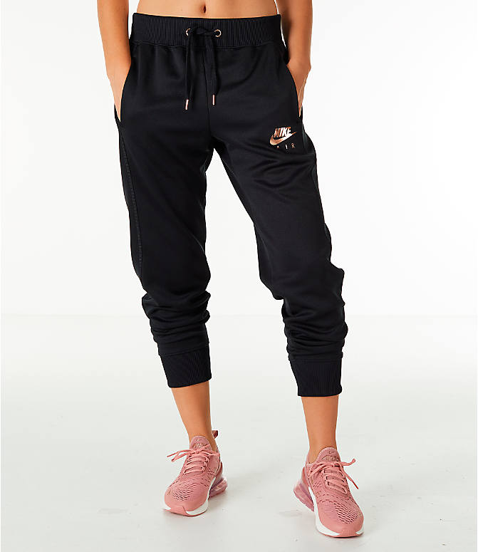 Front Three Quarter view of Women's Nike Sportswear Jogger Pants in Black/Rose Gold